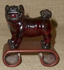 SALE!~Antique SMALL HAND CARVED CHERRY AMBER FOO DOG ON WOOD SCROLL STAND