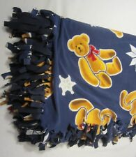 Fleece Tied Blanket Handmade Bears Snowflake Blue Brown Warm Blanky