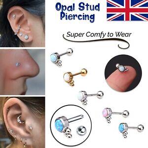 Cartilage Earrings Stud Rook Piercing Opal Gem Ball Flat Back Tragus Nose Helix
