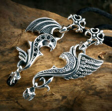 Fine Angel Devil Wing Couples CZ 925 Sterling Silver Pendant Necklace Nice Gift