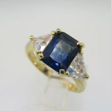 Trillion Cut Cz Ring Size 5.25 Sterling Silver Radiant Cut Created Sapphire and