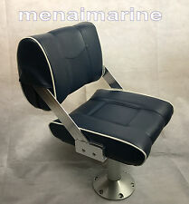 "Flip Back Reversible Helm boat seat Blue Pedestal adjusts seat height 18"" to 24"""