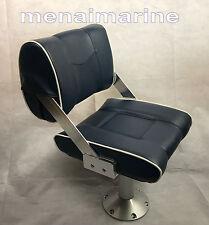 "Flip Back Reversible Helmboat seat Blue Pedestal adjusts seat height 18"" to 24"""