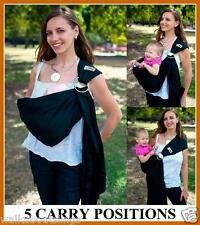 Walkabout XL Sling Ring Baby Carrier Wrap Pouch Extra Long Cotton Black MustHave
