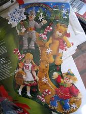 "Bucilla Felt Applique Holiday Stocking Kit,CHRISTMAS IN OZ,Wizard,86200,18"",Rare"