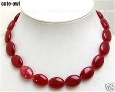"""13x18mm Red Ruby Jade Gemstones Oval Beads Necklace 18"""""""