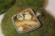 Sterling Silver 925 Hand Crafted Picasso Marble Pendant 1.5 inch wide
