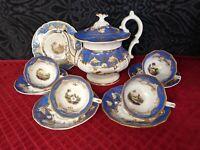 Antique Hand Painted Tea Set, cir early1800s davenport, coalport,worchester 11pc