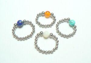 Stretch Stainless Steel and Gemstone Or Birthstone Gemstone Bead Ring.