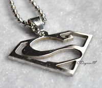 361L Stainless Steel Superman Men Women Pendant with Chain Necklace Unique Small