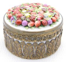 Antique Ormolu Porcelain German Elfinware Fruit Casket Dresser Box Dish Jar Bowl