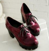 Chic Patent Leather Womens Platform Block High Heels Oxfords Pumps Lace Up Shoes