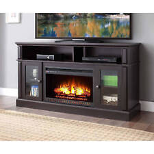 "TV Stand Media Fireplace 70"" Entertainment Storage Wood Console Electric Heater"