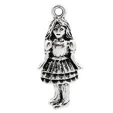 10 x  Girl  ALICE cinderella dorothy tibetan Silver charms GW44