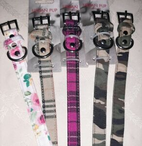 "URBAN PUP FABRIC DOG COLLAR 14-18"" NECK SIZE TARTAN CAMO FLORAL M/L"