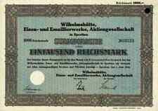 Wilhelmshütte Emaillierwerke 1942 Sprottau Szprotawa Kotzenau Mallmitz 1000 RM >