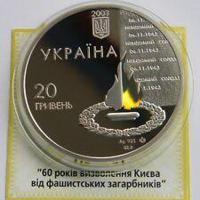 60 Years of LIBERATION of KYIV Ukraine 2003 Silver 2 Oz Proof 20 Hryvnia KM# 188