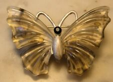 "VINTAGE SILVER TONE LUCITE WING BUTTERFLY BROOCH PIN 1.5"" WIDE"