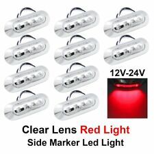 10 X Red 4 SMD LED Clear Lens Side Marker Tail Light Clearance Lamp Truck 10-30V