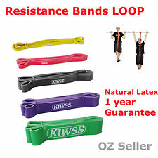 SET OF 5 2.08m POWER Heavy Duty RESISTANCE BAND Gym Yoga LOOP Fitness Workout