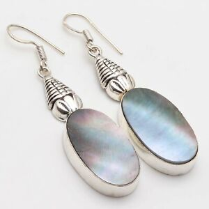 """MOTHER OF PEARL & 925 SILVER PLATED DANGLE EARRING 2.2"""", S-12334"""