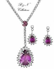 Platinum Plated Purple Cubic Zirconia Drop Shape Necklace & Earrings Set S576-31