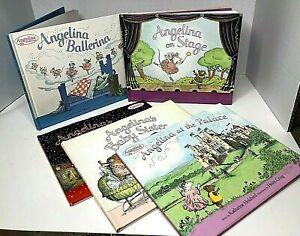 "Angelina Ballerina Lot of 5 Hardback Books Katharine Holabird 8 1/2"" X 10"""