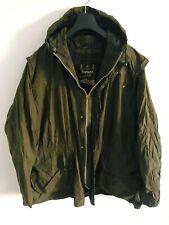Mens Barbour Durham Hooded wax jacket Green coat 44 in size XL/2XL Lightweight #