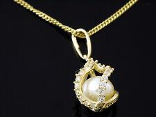 585 Gelbgold 14 Karat Gelbgold Kette mit Perle Anhänger Tropfenform inkl Kette