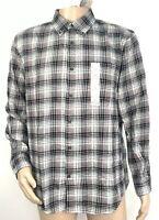 St Johns Bay Mens Button Down Shirt Size Large Black Red Plaid 100% Cotton NEW