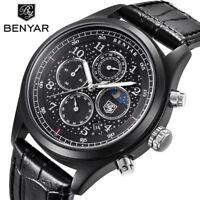 BENYAR Mens Chronograph Watches Date Sport Waterproof Quartz Wrist Watch Leather