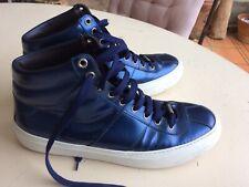Sneakers Jimmy Choo Homme Cuir Bleu Foncé Métallisé Taille 42 Parfait État !