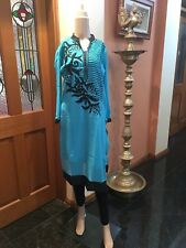 "40"" M Kurti Kurthi Top Boho Tunic Kaftan Indian Bollywood Kurtha Aqua Black W10"
