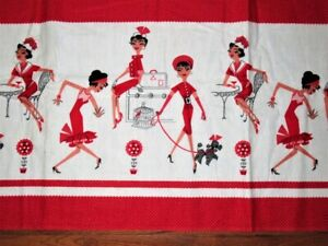 1 1/2 YD VTG RED WHITE 50'S FRENCH STYLE BISTRO POODLE COTTON FLANNEL FABRIC 42W