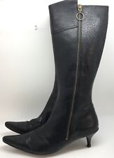 ESPACE Sexy Designer Black Leather Knee High Zip-Up Boots US 6 (RF56)