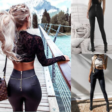 Sexy Women High Waisted Pu Leather Zipper Leggings Pants Ladies Tight Trousers