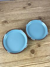 "Dansk Mesa  Blue salad 71/2"" Plate Portugal Brown Band Edge"