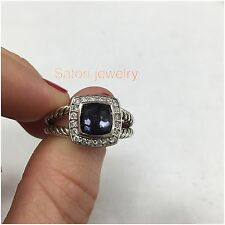 Authentic David Yurman Sterling Silver &Diamonds Petite Albion Black Orchid Ring