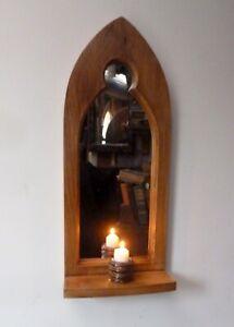 Gothic Arch Solid Wooden English Oak Keyhole Mirror & Shelf 68 cm long Hand Made