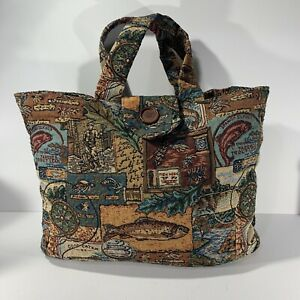 Vintage Padded Carpet Bag Nautical Ocean Fish Themed 46x38cm