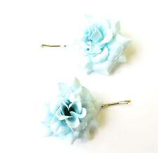 2 x Light Blue Rose Flower Hair Grips Clips Bridesmaid Bobby Pins Slides 2100
