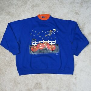 VINTAGE Halloween Pumpkin Patch Sweater Womens Large Black Cat Spooky Witch