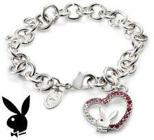 NEW Playboy Bracelet Bunny Heart Charm Silver Plated Pink Swarovski Crystal Link