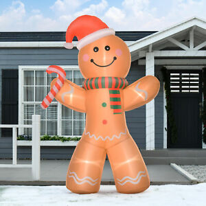 HOMCOM 2.4m Christmas Inflatable Gingerbread Man Lighted Indoor Outdoor