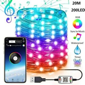 Christmas Tree Décor Bluetooth Led String Lights Smart Lamp Gifts New Year Décor