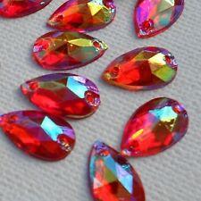70pcs RED AB Crystal Tear Drop 8x12mm Acrylic Flatback Rhinestones Sew-on
