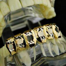 14k Gold Plated Deep Diamond-Cut Bottom Lower Teeth Slugs Hip Hop Mouth Grills