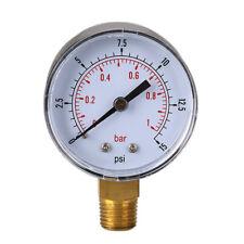UN3F Low Pressure Gauge for Fuel Air Hydraulic 50mm 0/15 PSI 0/1 Bar 1/4 BSPT