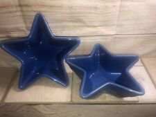 "(2) Longaberger Pottery Woven Traditions 7"" Star Shaped Serving Bowl-cornflower"