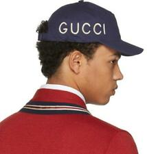 """NEW GUCCI MEN'S CURRENT """"LOVED"""" EMBROIDERED BLUE COTTON BASEBALL HAT CAP 58/M"""